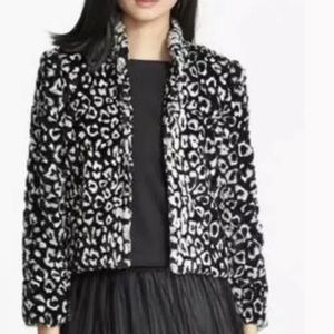Alice + Olivia Vegan Fur Snow Leopard Jacket M